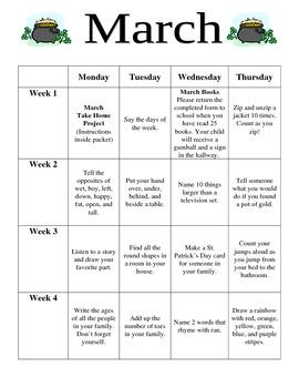 Preschool March Homework