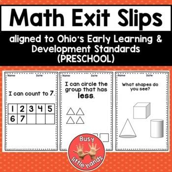 Preschool Math Exit Slips