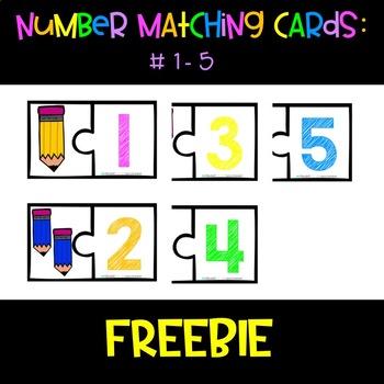 Preschool Number Matching Cards #1-5
