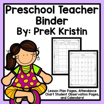 Preschool Teacher Plan Book