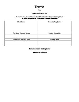 Preschool Planning - Theme and Calendar