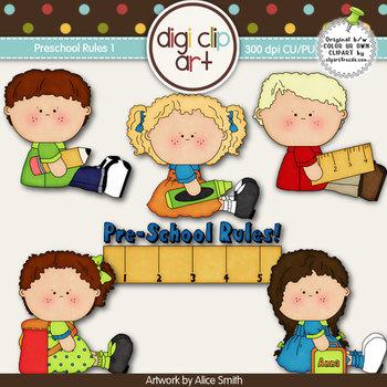 Preschool Rules 1-  Digi Clip Art/Digital Stamps - CU Clip Art
