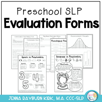 Preschool SLP Evaluation Forms: Play Based Assessment
