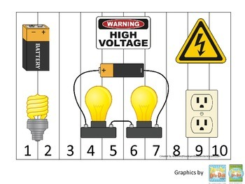 Preschool Science. Electricity Sequence Puzzle 1-10 learni