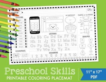 Preschool Skills Coloring Placemat - Boy