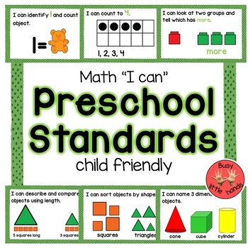Preschool Math Child Friendly Standards