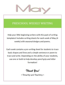 Preschool Weekly Writing - May