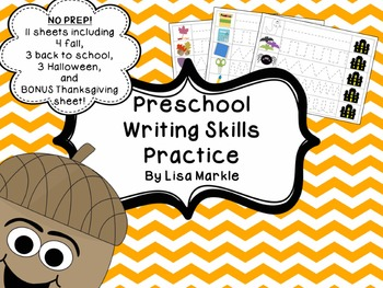Preschool Writing Skills Practice for Fall and Back to Sch