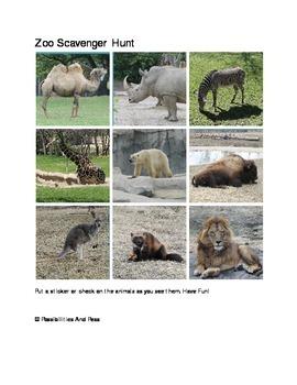 Preschool Zoo Scavenger Hunt