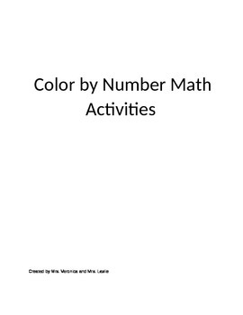 Preschool and Kindergarten Color By Number English/Spanish