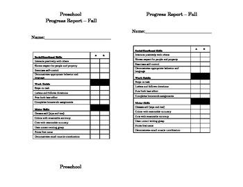 Preschool or Readiness Progress Report