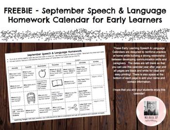 Preschool/Early Learning Speech-Language Homework Freebie