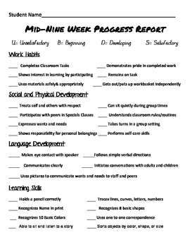 Preschool/Kindergarten Progress Report by teacher4all | Teachers ...