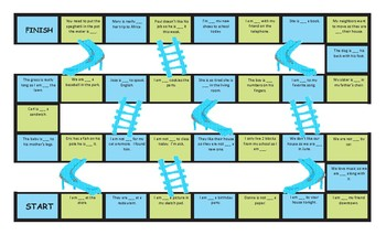 Present Continuous Tense Chutes and Ladders Board Game