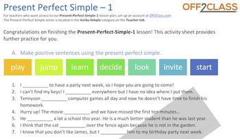 Present Perfect Simple - Activity-Sheet-1 (AnswerKey)