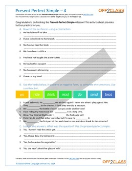 Present Perfect Simple - Activity Sheet - 4