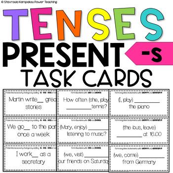 Present Tense  Task Cards (-s, -es, -ies)