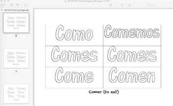 Spanish Conjugation Present Tense Coloring Book