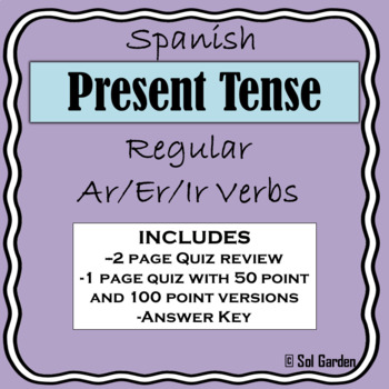 Present Tense Quiz and Quiz Review - Spanish