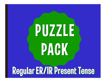 Spanish Present Tense Regular ER and IR Puzzle Pack