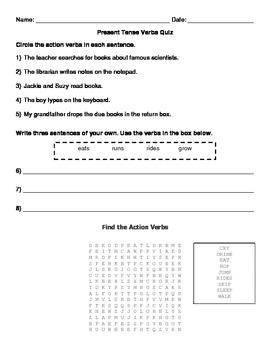 Present Tense Verb Quiz