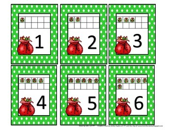 Present and Santa Sack Flashcard Ten frames for numbers 1-10