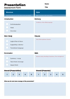Presentation Assessment Form