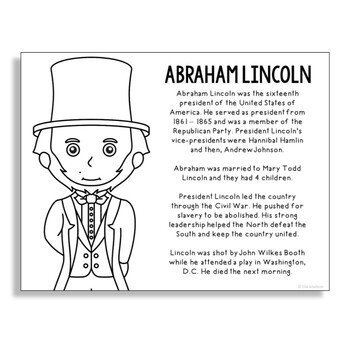 President Abraham Lincoln Coloring Page Activity or Poster