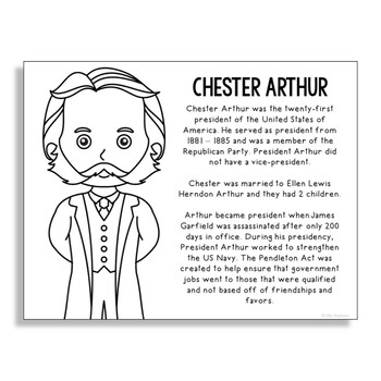 President Chester Arthur Coloring Page Activity or Poster