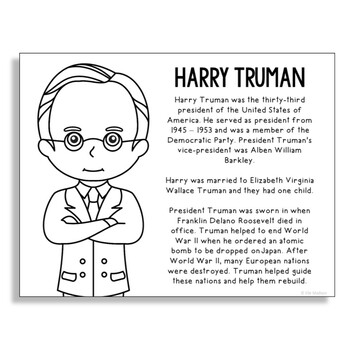 President Harry Truman Coloring Page Activity or Poster wi