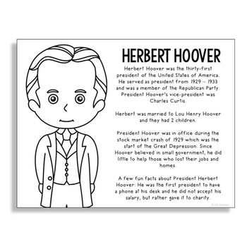 President Herbert Hoover Coloring Page Activity or Poster