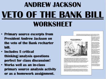 """Veto of the Bank Bill"" - Andrew Jackson - US History/APUSH"