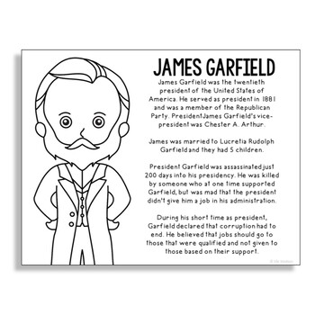 President James Garfield Coloring Page Activity or Poster