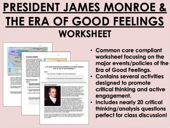The Presidency of James Monroe worksheet - Era of Good Fee