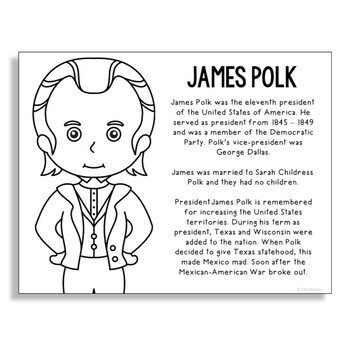 President James Polk Coloring Page Activity or Poster with