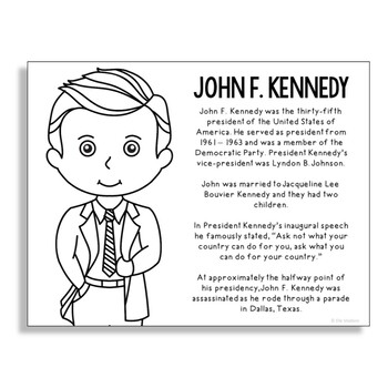 President John F. Kennedy Coloring Page Activity or Poster