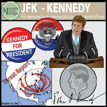 President John F. Kennedy - JFK Clip Art {Messare Clips an