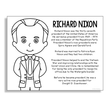 President Richard Nixon Coloring Page Activity or Poster w