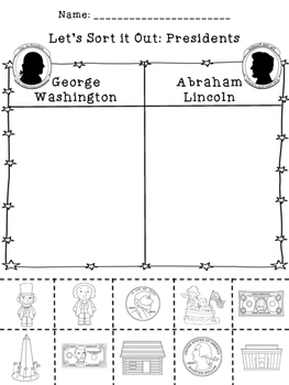 Presidents' Day  Sorts {Cut/Paste and Color Version}