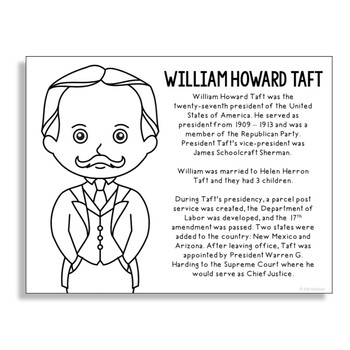President William Howard Taft Coloring Page Activity or Po