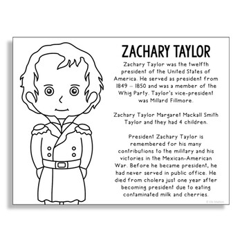 President Zachary Taylor Coloring Page Activity or Poster