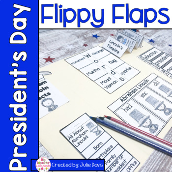 President's Day Flippy Flaps Interactive Notebook Lapbook