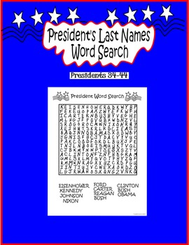 President's Day Word Search Presidents 34-44