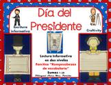 President's Day in Spanish Craftivity Reading Writing Math