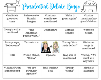 Presidential Debate Bingo