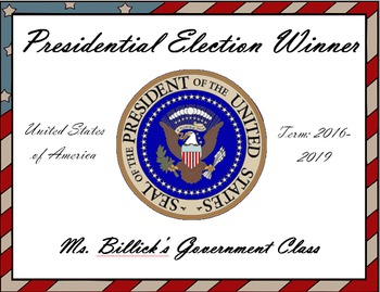 Presidential Election Winner Award Certificate