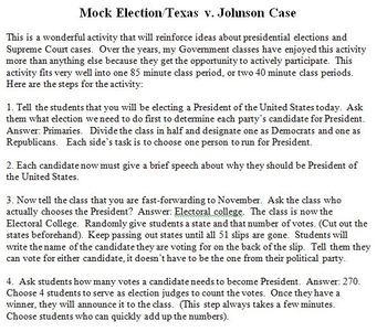 Presidential Election/Texas v. Johnson Case Simulation
