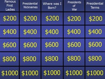 Presidential Jeopardy Promethean Flip Chart ~ Grades 11 /