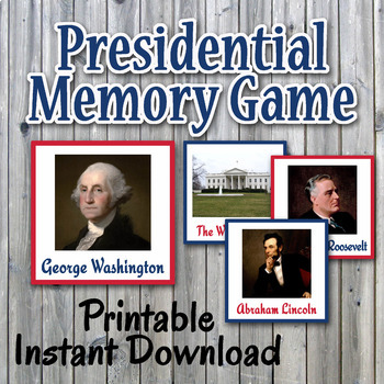 Presidential Memory Game - Includes Different 48 Cards - P
