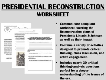Printables Reconstruction Worksheets presidential reconstruction worksheet civil by epic history war us his
